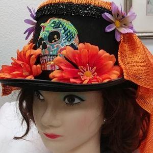 FELT TOP HAT/Dia De Los Muertos